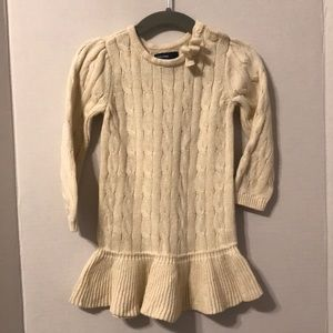 Baby Gap Cable Knit cream dress w/ Ruffle skirt